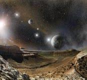 Montagne del paesaggio e spazio dell'universo Immagini Stock Libere da Diritti
