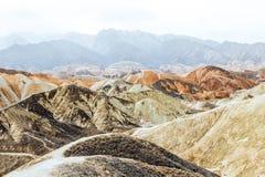 Montagne dell'arcobaleno di Danxia, provincia di Zhangye, Gansu, Cina Fotografia Stock Libera da Diritti