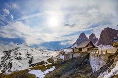 Montagne della dolomia, passaggio di Sella Fotografia Stock Libera da Diritti
