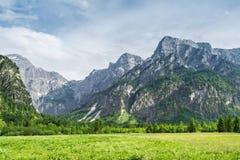 Montagne delle alpi in Almsee in Austria Immagine Stock