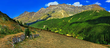 Montagne di Alpien con il hayfield dei remi Notre Dame Fotografia Stock