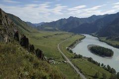 Montagne di Altai, fiume di Katun Fotografie Stock