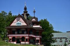 Montagne di Beskydy in repubblica Ceca, posto di vacanza di Radhost Fotografia Stock