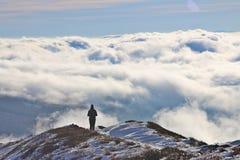 Montagne di Bieszczady in nuvole Immagini Stock Libere da Diritti