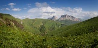 Montagne di Caucaso orientali e Acheshbok occidentale sotto un blu Fotografia Stock Libera da Diritti