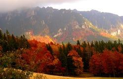 Montagne di Ciucas Carphatian della forma della sommità di Zaganu in autunno fotografie stock