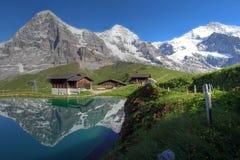 Montagne di Eiger, di Moench e di Jungfrau, Svizzera Fotografia Stock Libera da Diritti