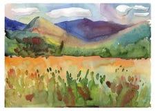 Montagne di estate con un prato del fiore Illustrazione del lanscape dell'acquerello illustrazione di stock