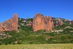 Montagne di figura dell'icona del Mallos de Riglos a Huesca Fotografia Stock Libera da Diritti