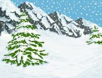 Montagne di inverno Fotografie Stock Libere da Diritti