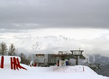 Montagne di inverno, stazione sciistica Rosa Khutor Immagini Stock Libere da Diritti
