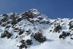 Montagne di inverno, stazione sciistica Rosa Khutor Immagine Stock