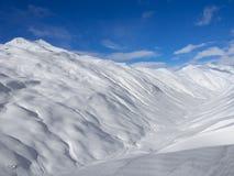 Montagne di inverno, valle della neve in alpi italiane Livignio Fotografia Stock Libera da Diritti