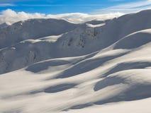 Montagne di inverno, valle della neve in alpi italiane Livignio Immagine Stock Libera da Diritti