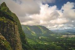 Montagne di Oahu, Hawai - allerta di Pali Fotografia Stock