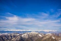 Montagne di Snowy Fotografie Stock Libere da Diritti