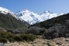 Montagne di Snowy nelle alpi della Nuova Zelanda Fotografia Stock Libera da Diritti