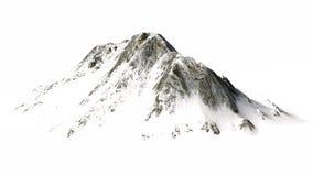 Montagne di Snowy - picco di montagna - isolate su fondo bianco Immagini Stock Libere da Diritti