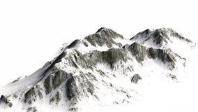 Montagne di Snowy - picco di montagna - isolate su fondo bianco Fotografia Stock Libera da Diritti