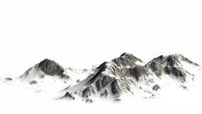 Montagne di Snowy - picco di montagna isolato su fondo bianco Fotografie Stock