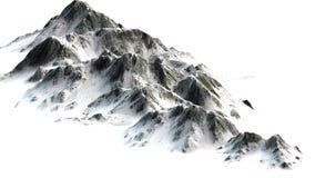 Montagne di Snowy - picco di montagna isolato su fondo bianco Fotografie Stock Libere da Diritti