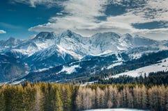 Montagne di Snowy, pini e nuvole basse Immagini Stock Libere da Diritti