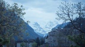 Montagne di Snowy svizzere Fotografia Stock
