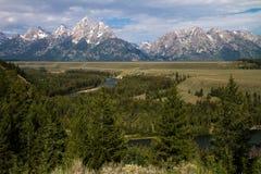 Montagne di Teton e del fiume Snake Fotografie Stock Libere da Diritti