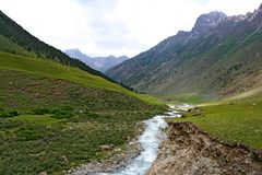 Montagne di Tien Shan, Kirghizistan Fotografia Stock