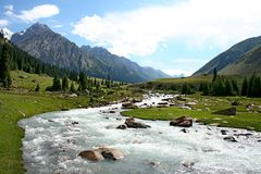 Montagne di Tien Shan, Kirghizistan Fotografie Stock