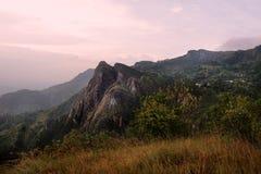 Montagne di Usambara. Il tramonto Immagini Stock