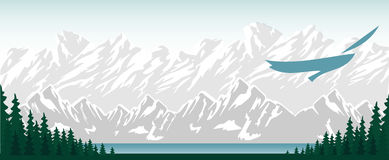 Montagne di vettore e paesaggio della foresta Immagine Stock Libera da Diritti