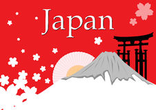 Montagne du Japon Fuji avec la fleur de Sakura Image stock