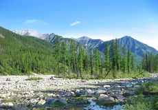 Montagne e fiume Fotografia Stock Libera da Diritti