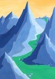 Montagne e fiume blu Fotografia Stock Libera da Diritti