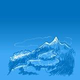 Montagne e fiume blu Immagini Stock Libere da Diritti