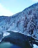 Montagne e fiume di inverno immagine stock