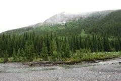 Montagne e fiume di inverno fotografia stock libera da diritti