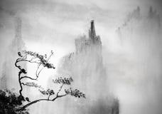 Montagne e foschia Immagini Stock