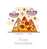 Montagne e funghi atomici della pizza nella linea sottile progettazione piana Insegna di vettore degli alimenti a rapida preparaz Immagine Stock