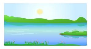 Montagne e lago illustrazione vettoriale