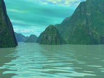 Montagne e lago Immagine Stock