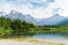 Montagne e lago delle alpi in Almsee in Austria Fotografia Stock