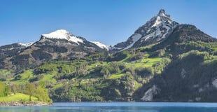 Montagne e lago svizzeri delle alpi un giorno soleggiato Fotografia Stock Libera da Diritti