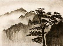 Montagne e pino Immagine Stock Libera da Diritti