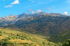 Montagne e prati sotto cielo blu Fotografia Stock