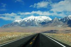 Montagne e strada principale della neve Immagini Stock