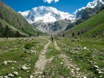 Montagne e turista Fotografia Stock Libera da Diritti