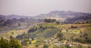 Montagne ed aziende agricole negli altopiani dell'Etiopia Fotografie Stock Libere da Diritti