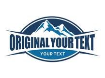 Montagne ed emblema di tipografia Immagini Stock